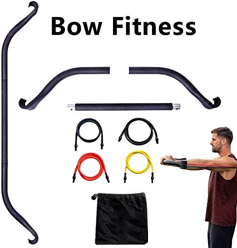 Mucool Resistance Band with Bow, Portable Home Gym Bar and Bands, Full Body Workout Equipment Home Gym System