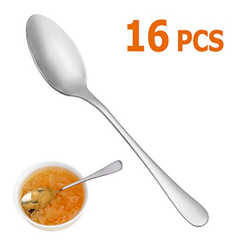 """Dinner Spoons Set,16 Pcs 7.3"""" Tablespoons,Premium Food Grade 18/10 Stainless Steel Spoons,Durable Metal Spoons,Tablespoon,Silverware Spoons Only,Mirror Finish & Dishwasher Safe,Use for Home,Restaurant"""
