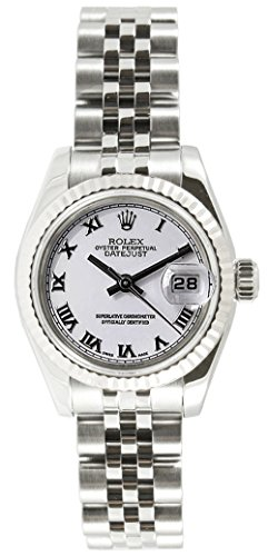 (Rolex Ladys New Style Heavy Band Stainless Steel Datejust Model 179174 Jubilee Band 18K White Gold Fluted Bezel White Roman Dial)