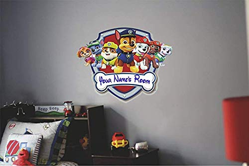 Your name Paw patrol shield Rocky   Rubble   Zuma   Everest firedog Marshall, police pup Chase, and fearless Skye Movie Self adhesive Graphic Art Mural