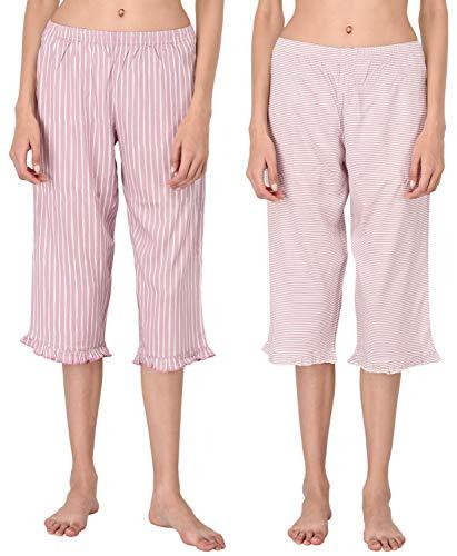 Capri Stripe Pink Pant - VDRNY Woman's Cropped Pajama Pants Set/Women's Capri - PJs - Sleepwear (Pack of 2) (Pink Stripe Set, L)