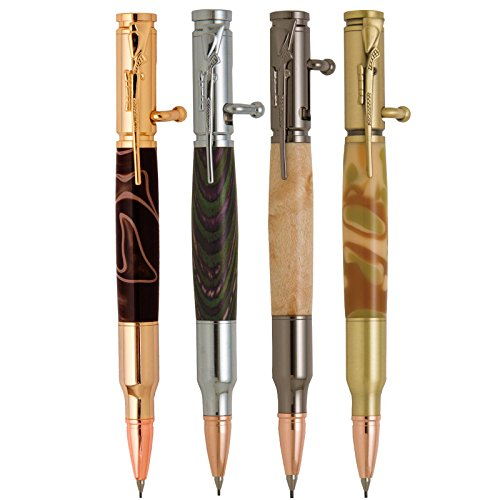 Penn State Industries PKCP81SS Bolt Action Bullet Cartridge Pencil Kit Starter Package Woodturning Project (4pack) ()