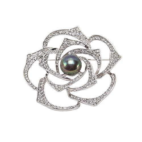 JYX Elegant 12.5mm Rose Shape Black Freshwater Pearl Brooch Pins