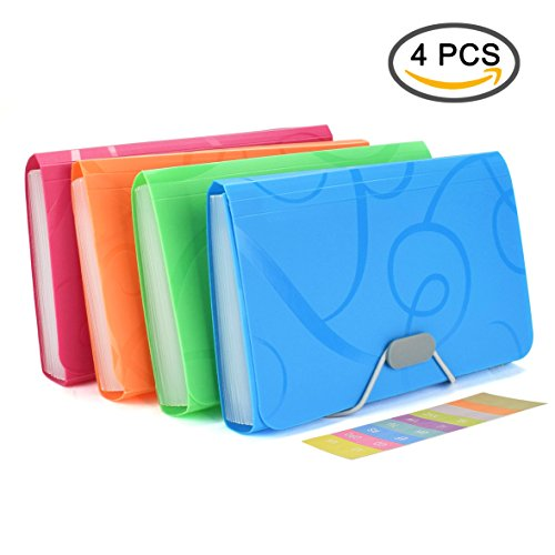 Tab Expanding Wallet (EsOfficce Expanding File Folder, Accordian File Organizer, 13 Pockets A6 Organizer Folder with 12 Labels Rope Buckle Closure,PP Wallet Organizer for Receipts, Coupons and Tickets, 4 Pcs/Pack)