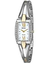 Seiko Womens SUP084 Two Tone Stainless Steel Analog Watch with White Dial Watch