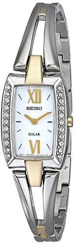 Seiko Women's SUP084 Two Tone Stainless Steel Analog Watch with White Dial (Two Tone Quartz Bangle)