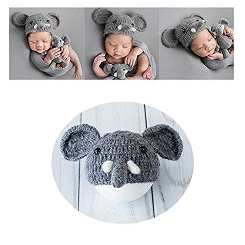 LERORO Newborn Infant Baby Photography Props Boys Girls Elephant Hat Handmade Photo Shoot Headdress (0-12 Months, Hat Only)