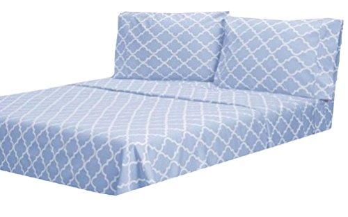 MARRIKAS 300TC Cotton TWIN EXTRA LONG TRELLIS SHEET SET BLUE