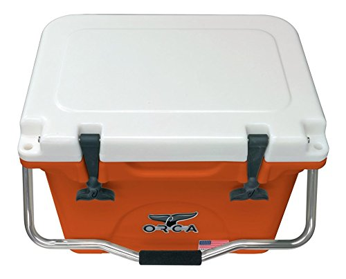 ORCA ORCBO/WH020 Cooler with Single Flex-Grip Stainless Steel Handle for Simple Solo Portage, 20 quart, Burnt Orange/White