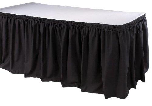 Phoenix 21-1/2 Feet Table Skirting, Shirred, Black