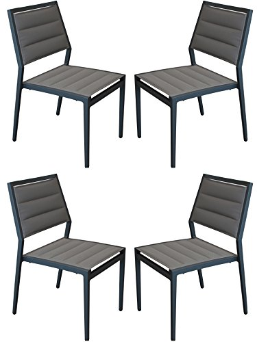 Amauri Outdoor Living The Marvelle Collection Modern Style Marine Grade Outdoor Furniture Armless Dining Chairs (Set of 4), Mineral Grey Frame & Grey Seat Cushion
