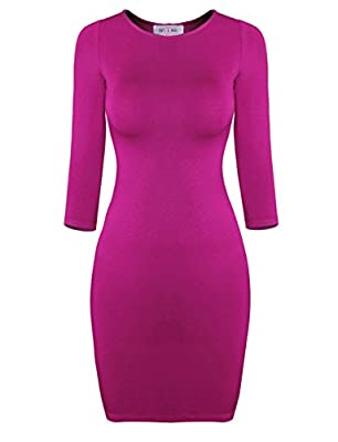 Tom's Ware Women's Classic Slim Fit 3/4 Sleeve Knit Dress