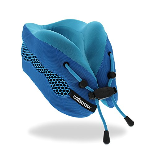 Cabeau Evolution Cool Travel Pillow- The Best Air Circulating Head and Neck Memory Foam Cooling Travel Pillow – Blue