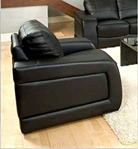 Contemporary Black Leather Match Chair