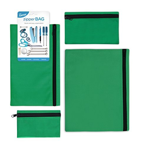 4pk - All Purpose Zipper Bag (Green - 1 of Each Size) by Cumberland Concepts