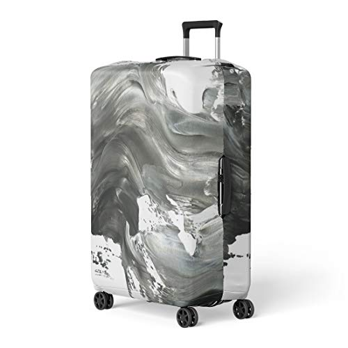 Pinbeam Luggage Cover Abstract Ink Marble Black and White Paint Stroke Travel Suitcase Cover Protector Baggage Case Fits 26-28 inches