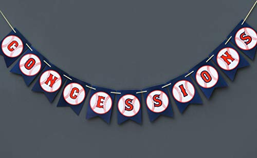 (Boston Creative company Baseball Concessions Banner Concession Sign Baseball Decor Baseball Happy Birthday Banner Baseball Themed Pennant)