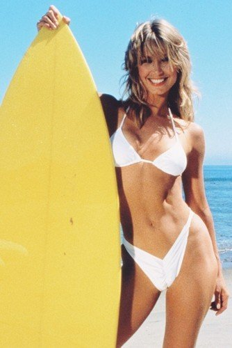 Heather Thomas Super Sexy in White Bikini Holding Surf Board 11x17 Mini Poster