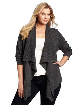 Calvin Klein Women's Plus-Size Flyaway Sweater, Heather Charcoal, 1X