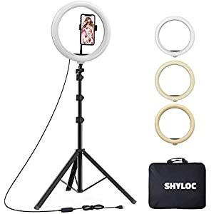 SHYLOC 10 inches Big led Ring Right for Photo and Video with Tripod Stand Compatible with Camera and Smartphones