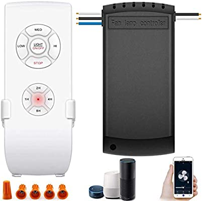 Controlador inteligente WiFi para ventilador de techo con luz, ventilador de techo universal, mando a distancia y receptor completo, control inteligente compatible con Alexa Google, control de aplicación de teléfono, no requiere