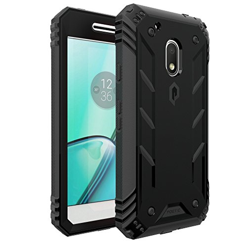 Poetic Revolution Heavy Duty Protection Hybrid Case with screen Protector for Motorola Moto G4 Play (2016) Black (Best Moto G4 Cases)