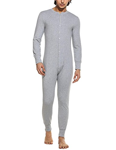 MAXMODA Mens Waffle Union Suit Underwear Light Gray S (Mens Union Suit One Piece)