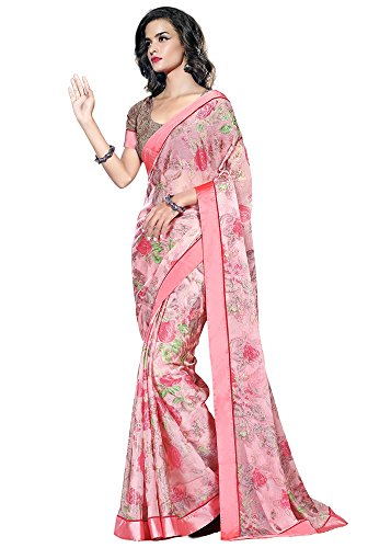 Srp Fashion Selection Womens Georgette Saree (SRP-BORDER RED_Pink_Free Size)