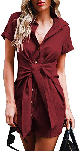 SVALIY Womens Summer Short Sleeve Casual Tunic Button Down Club Short Mini Party Shirt Dresses Red Wine