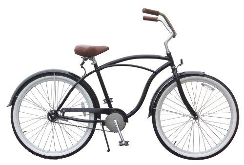 sixthreezero Mens BE Single Speed Beach Cruiser Bicycle, Black, 26 Wheels/ 19 Frame