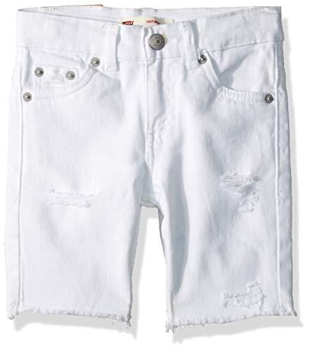 Levi's Boys' Little 511 Slim Fit Denim Shorts, White, 7X
