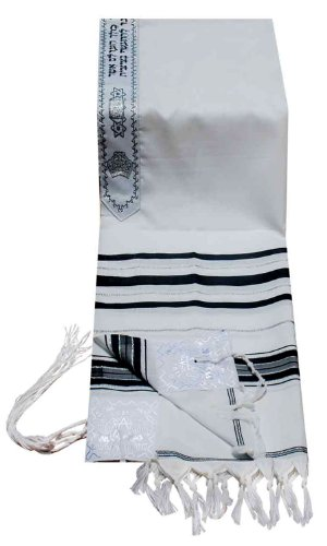 Prayer Shawls (Tallit) Black & Silver - Made in Israel