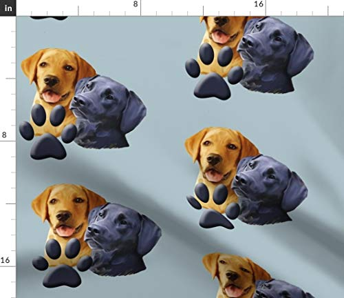 Labrador Retriever Fabric - Sporting Dog Hunters Hunting Dog Fabric Yellow Lab Black Lab Print on Fabric by The Yard - Denim for Sewing Bottomweight Apparel Home Decor Upholstery
