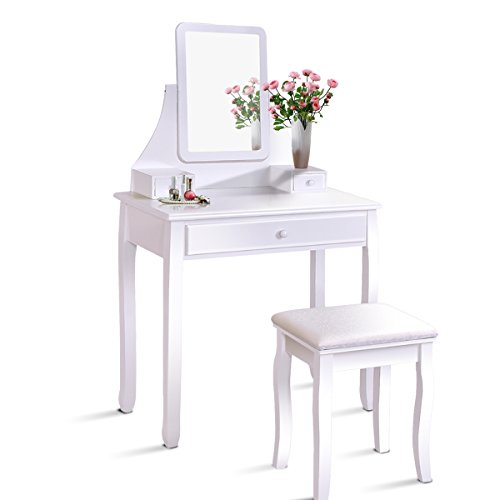 Giantex White Bathroom Vanity Dressing Table Set Mirror Stool (Rectangle Mirror)