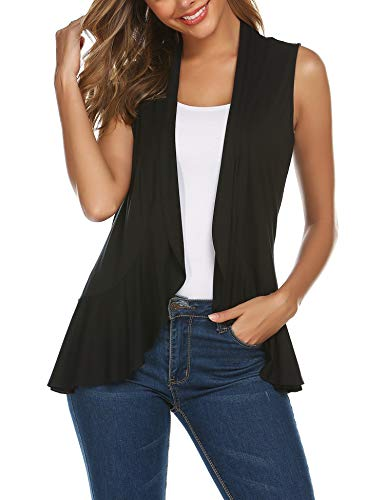 Zeagoo Women's Sleeveless Irregular Lightweight Soft Draped Open Front Cardigan Sweater Vest