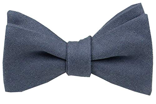 Mens Solid Linen Self Tie Bow Ties-Classic Butterfly Bowties-Wedding-Various Colors (Dusty Blue)