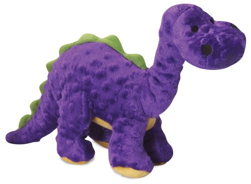 goDog Dinos Bruto with Chew Guard Tough Plush Dog Toy, Purpl