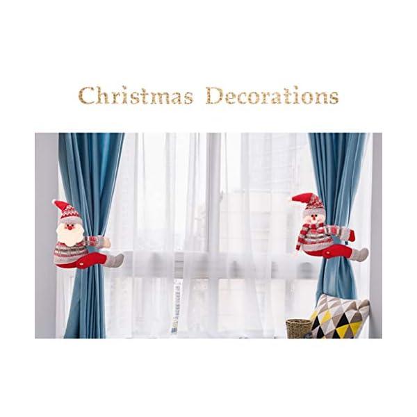 UMIPUBO Natale Sipario Fibbia in Velcro,Bambola di Natale,Fibbia Tenda Natalizia Babbo Natale Alce Pupazzo di Neve,Fissaggio Tende Fibbie,Decorazioni Natalizie, 5 spesavip