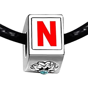 Chicforest Silver Plated Red Letter N Photo Blue Aquamarine Crystal March Birthstone Flower Charm Beads Fits Pandora Bracelet
