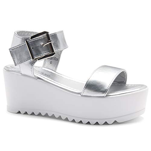 8a811fa18b5d Herstyle Carita Women s Open Toe Ankle Strap Platform Wedge Sandals Silver  7.0