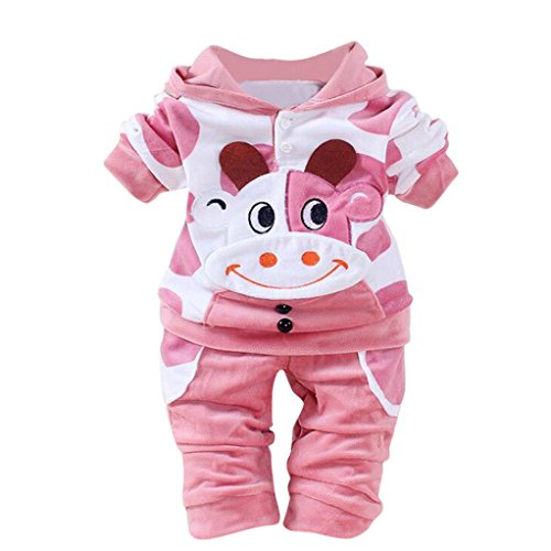 Girls clothing , Ikevan Baby Fashion Lovely Cow Baby Clothes Cotton Tops +Pants Outfits (Size:6M, Pink)