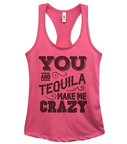 Funny Saying Drinking Tanks-'You and Tequila Make Me Crazy' Royaltee Shirts Small, Pink