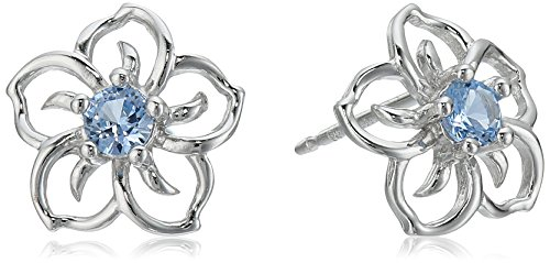 Sterling Silver Created Aquamarine Flower Stud (Aquamarine Sterling Silver Stud)