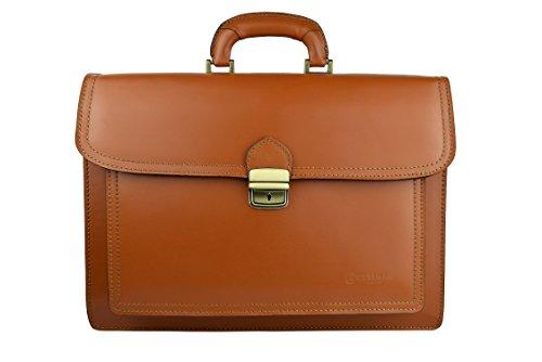 cm 40x30x13 Mesures documents multiples Tan Noir Couleur de porte Compartiments Zerimar Sac cuir haute qualité en FqH7BAvPw