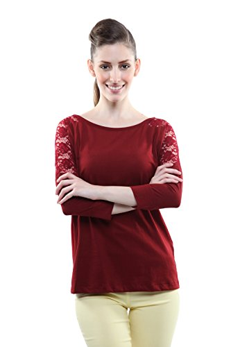 Miss Chase Women's Solid Dressy Lace Top