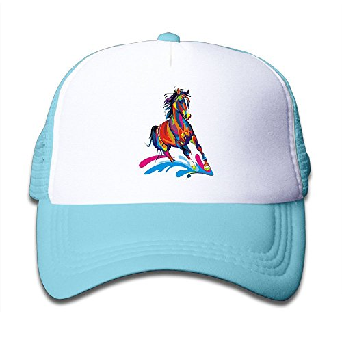 Elephant AN Colorful Horse Mesh Baseball Cap Kid Boys Girls Adjustable Golf Trucker Hat