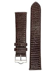 Signature Lizard in brown 20 mm watch band. Replacement watch strap. Genuine Lizard skin. Shine. Silver Buckle