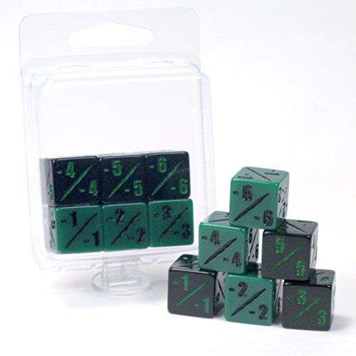 Premium MTG -1/-1 Counter Dice D6 – Pack of 6 – Black and Green – Hedral – Magic: The Gathering TCG CCG Wither Infect