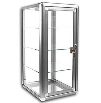 Elegante Vertical Caso vitrina de cristal templado tablero de la mesa de aluminio anodizado en plata. Puerta de cristal templado con cerradura con llave – 3 estantes: Amazon.es: Amazon.es