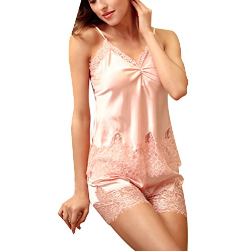 Zhhlaixing Summer Womens Silk Pajamas Set Comfortable Home Casual Nightwear 2 Colors Pink
